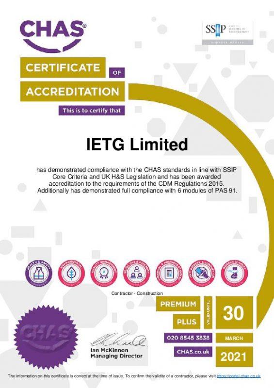 IETG Achieves CHAS Premium Plus