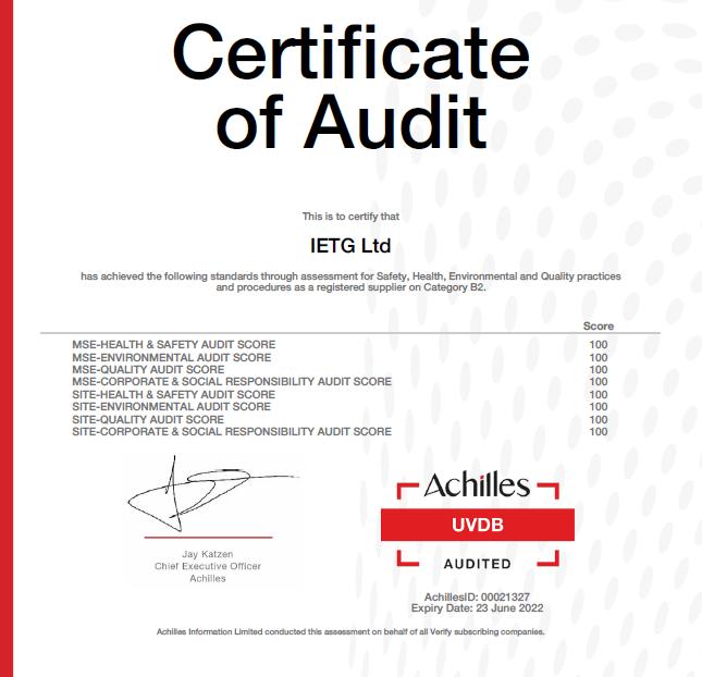 Achilles UVDB – IETG Scores 100%
